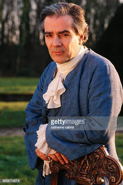 Actor Pierre Arditi on the set of the television series Condorcet directed by Michel Soutter