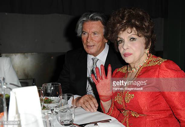 Actor Pierre Brice and actress Gina Lollobrigida attend the 20 Years Kabel1 celebration at the Kesselhaus on February 29 2012 in Munich Germany