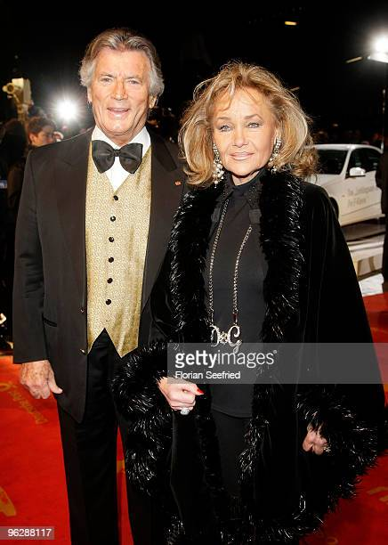 Actor Pierre Brice and his wife Hella attend the Goldene Kamera 2010 Award at the Axel Springer Verlag on January 30 2010 in Berlin Germany
