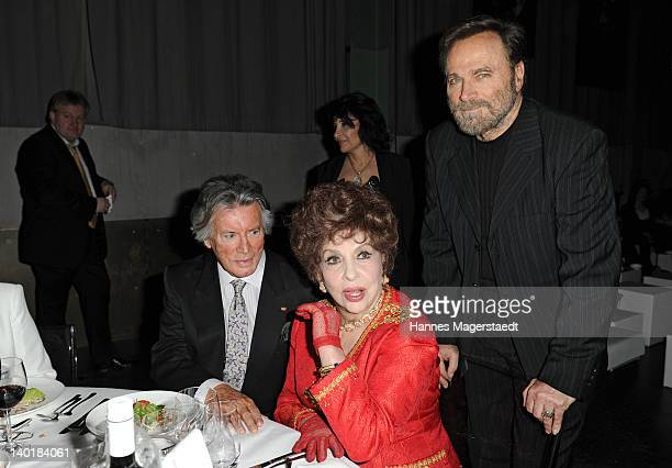 Actor Pierre Brice Franco Nero and actress Gina Lollobrigida attend the 20 Years Kabel1 celebration at the Kesselhaus on February 29 2012 in Munich...