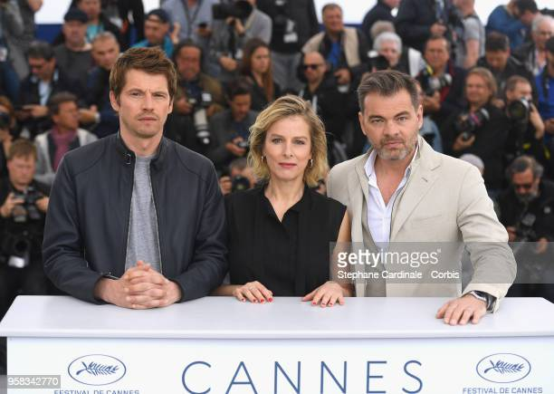 Actor Pierre Deladonchamps director Andrea Bescond and actor Clovis Cornillac attend the photocall for Little Tickles during the 71st annual Cannes...