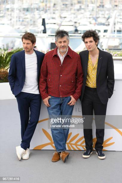 Actor Pierre Deladonchamps director Christophe Honore and actor Vincent Lacoste attends the photocall for Sorry Angel during the 71st annual Cannes...