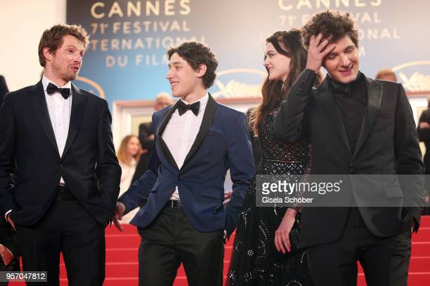 Actor Pierre Deladonchamps guest actress Adele Wismes and actor Vincent Lacoste depart the screening of 'Sorry Angel ' during the 71st annual Cannes...