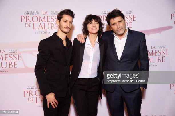 Actor Pierre Niney Actress Charlotte Gainsbourg and Director Eric Barbier attend the premiere of 'La Promesse De L'Aube' at Cinema Gaumont Capucine...