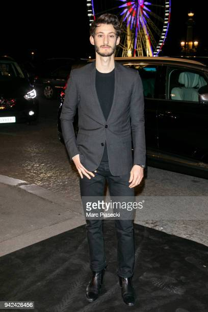 Actor Pierre Niney arrives to attend the 'Madame Figaro' dinner at Automobile Club de France on April 5 2018 in Paris France