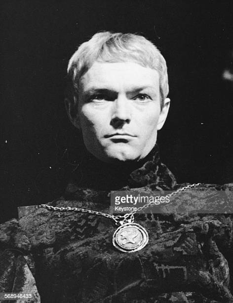 Actor Pierre Vaneck in a scene from the play 'Hamlet' during a celebration of William Shakespeare at the Theatre National Populaire circa 1960