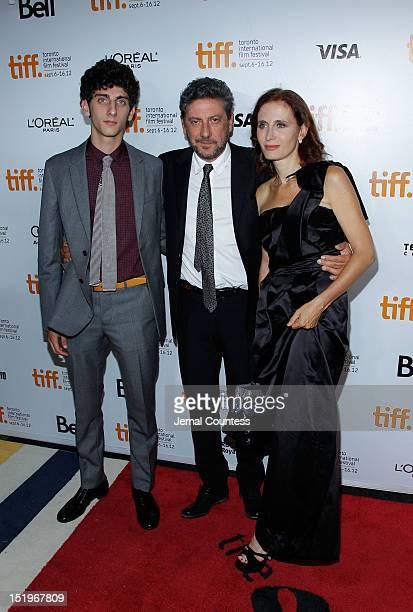 "Actor Pietro Castellitto, director Sergio Castellitto and writer Margaret Mazzantini arrive at the ""Twice Born"" premiere during the 2012 Toronto..."