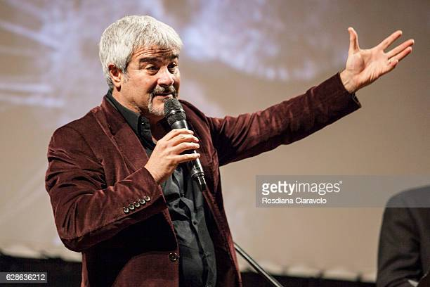 Actor Pino Insegno reads 'Sole Di Mezzanotte' by Jo Nesbro during the Noir In Festival on December 8 2016 in Como Italy