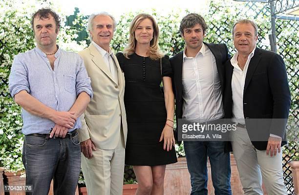 Actor Pippo Delbono director Marco Risi actress Eva Herzigova actors Luca Argentero and Claudio Amendola attend 'Cha Cha Cha' photocall at Hotel...