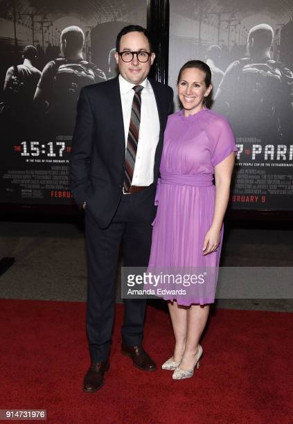 Actor PJ Byrne and Jaime Nicole Padula arrive at the premiere of Warner Bros Pictures' 'The 1517 To Paris' at Warner Bros Studios on February 5 2018...