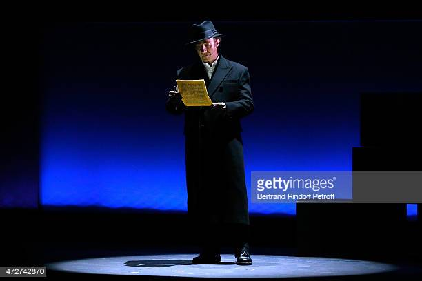 Actor playing the role of Jean Moulin Thierry Fremont performs during the 'Ami entends tu ' Show performed at The Invalides on May 8 2015 in Paris...