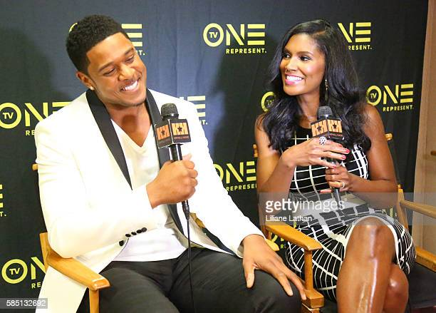Actor Pooch Hall and Actress Denise Boutte speak at The Beverly Hilton Hotel on August 1 2016 in Beverly Hills California