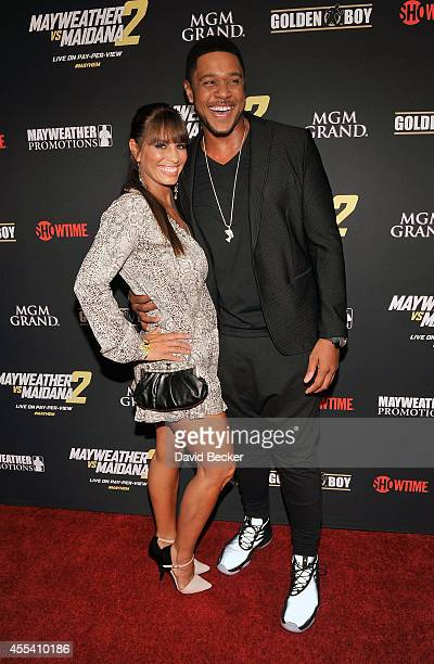 Actor Pooch Hall and his wife Linda Hall arrive at Showtime's VIP prefight party for 'Mayhem Mayweather vs Maidana 2' at the MGM Grand Garden Arena...