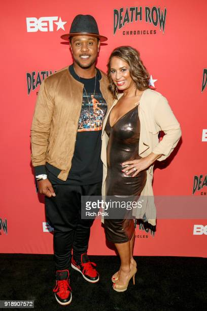 Actor Pooch Hall and wife Linda Hall arrive at an event where BET NETWORKS Hosts an Exclusive Dinner Performance for upcoming docuseries Death Row...