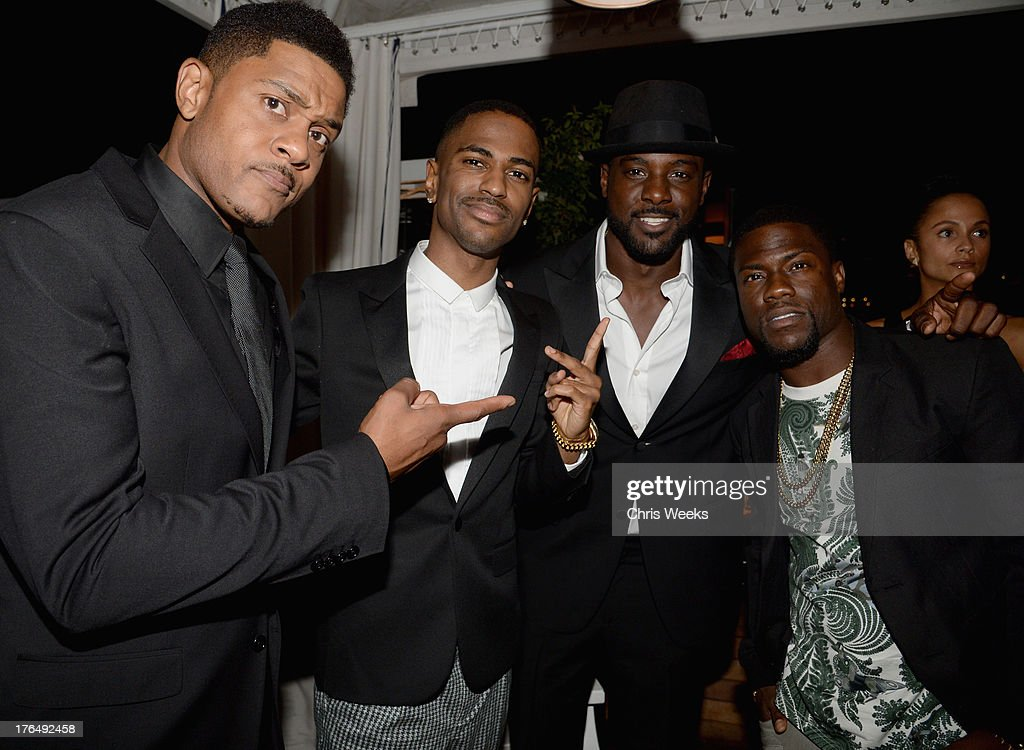 Actor Pooch Hall, recording artist Big Sean, actor Lance Gross and Kevin Hart attend Moet Rose Lounge Los Angeles hosted by Big Sean at The London West Hollywood on August 13, 2013 in West Hollywood, California.