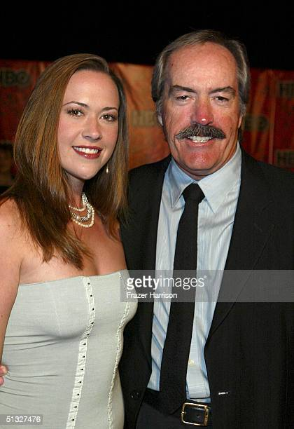 Actor Powers Booth and daughter Parisse arrive at HBOS post Emmy party following the 56th annual primetime Emmy Awards held at the Pacific Design...