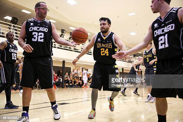 Actor Pride Grinn TV personality Frankie Delgado and actor Jimmy Tatro attend the ELeague celebrity basketball game at Equinox Sports Club West LA on...