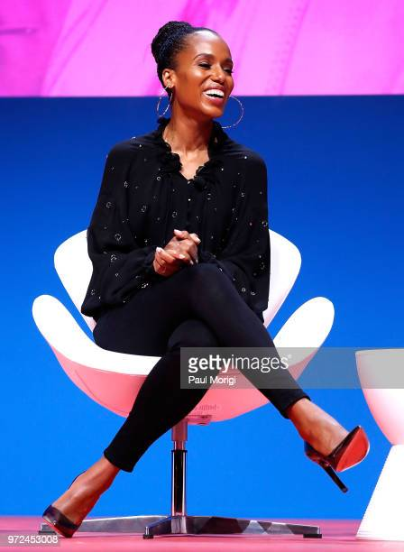 Actor producer and activist Kerry Washington speaks at a panel discussion about sexual harassment and rape in the workplace at the 2018 ACLU National...