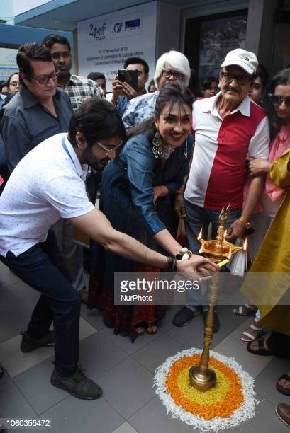 Actor Prosenjit Chatterjee and Actress Rituparna Sengupta attends 24th Kolkata International Film on November 112018 in KolkataIndia