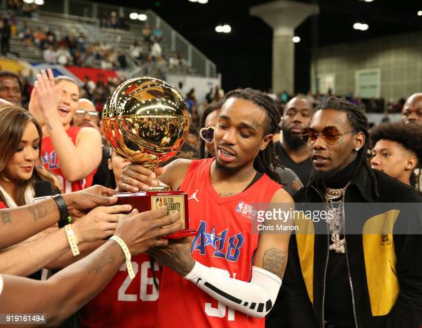 Actor Quavo is awarded the MVP trophy during the 2018 NBA AllStar Game Celebrity Game as part of 2018 NBA AllStar Weekend on February 16 2018 at...
