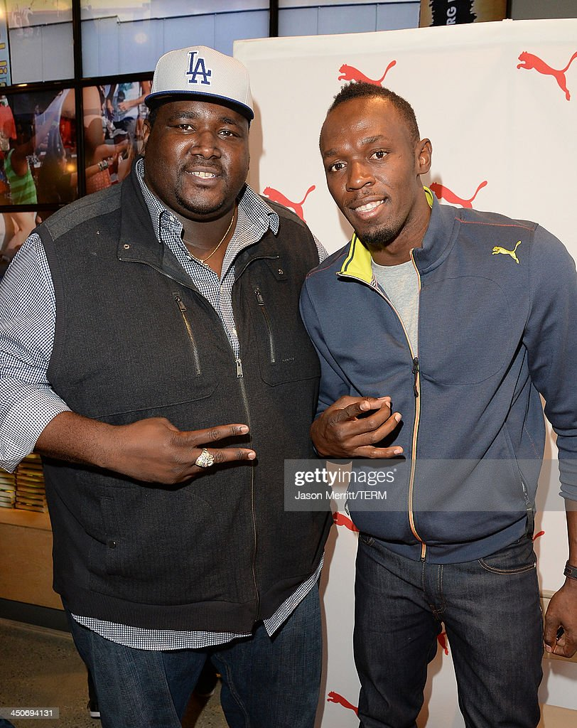 """PUMA Welcomes Usain Bolt For Book Signing Of His Autobiography """"Faster Than Lightening"""" At The PUMA Store In Santa Monica : News Photo"""