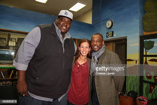 Actor Quinton Aaron teacher Adriana Sass and actor LeVar Burton pose backstage at the debut of Social Media Mania's national program at Beverly Hills...