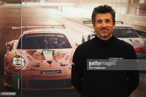 Actor, race driver and team owner Patrick Dempsey attends a Porsche media session during previews to the Le Mans 24 Hour race at the Circuit de la...