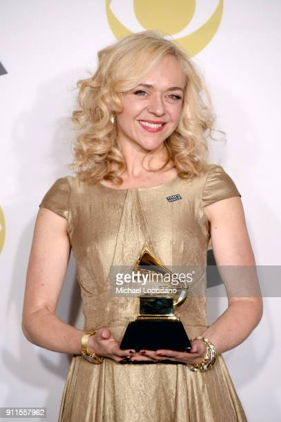 Actor Rachel Bay Jones winner of the Best Musical Theater Album award for 'Dear Evan Hansen' poses in the press room during the 60th Annual GRAMMY...