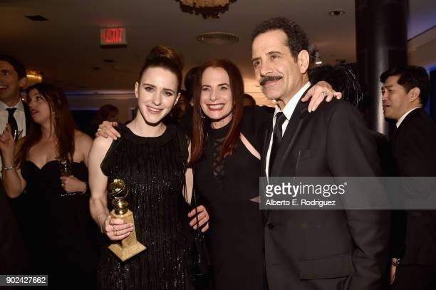 Actor Rachel Brosnahan Amazon Casting Director Donna Rosenstein and actor Tony Shalhoub attend Amazon Studios' Golden Globes Celebration at The...
