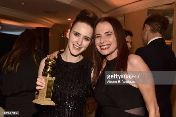 Actor Rachel Brosnahan and Amazon Casting Director Donna Rosenstein pose with award at the Amazon Studios' Golden Globes Celebration at The Beverly...