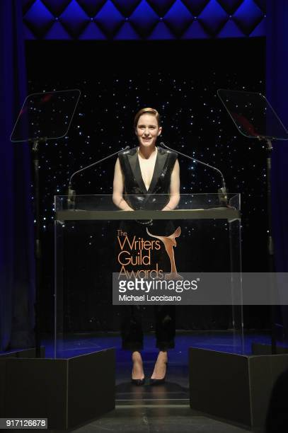 Actor Rachel Brosnahan speaks onstage during the 70th Annual Writers Guild Awards New York at Edison Ballroom on February 11 2018 in New York City