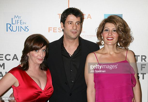 "Actor Rachel Dratch, Alexis Georgoulis and Nia Vardalos attend the premiere of ""My Life in Ruins"" during the 8th Annual Tribeca Film Festival at BMCC..."