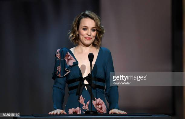 Actor Rachel McAdams speaks onstage during American Film Institute's 45th Life Achievement Award Gala Tribute to Diane Keaton at Dolby Theatre on...