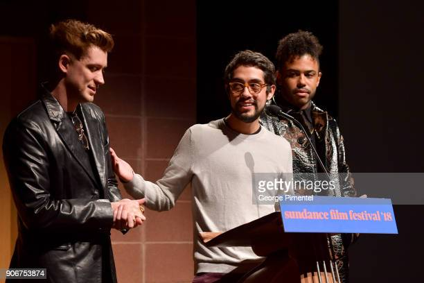 Actor Rafael Casal Director Carlos López Estrada and Actor Daveed Diggs speak onstage at the Blindspotting Premiere during the 2018 Sundance Film...