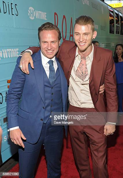 Actor Rafe Spall and rapper Machine Gun Kelly attend the premiere for Showtime's Roadies at The Theatre at Ace Hotel on June 6 2016 in Los Angeles...
