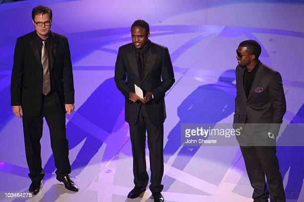 Actor Rainn Wilson Actor Wayne Brady and Rapper Kanye West during the 59th Annual Primetime Emmy Awards at the Shrine Auditorium on September 16 2007...
