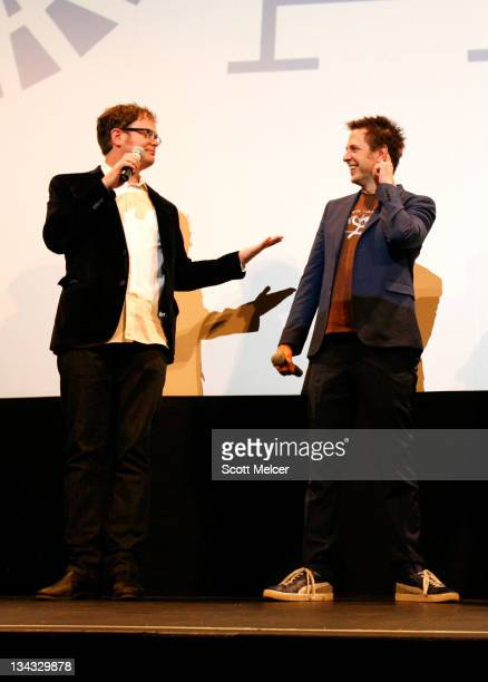 """Actor Rainn Wilson and director James Gunn speak onstage at the 2011 SXSW Music, Film + Interactive Festival """"Super"""" Premiere at Paramount Theater on..."""