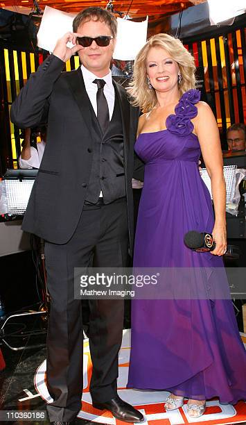 Actor Rainn Wilson and Entertainment Tonight reporter Mary Hart attend the 60th Primetime Emmy Awards held at the NOKIA Theatre on September 21, 2008...