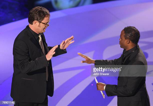 Actor Rainn Wilson and TV Personality Wayne Brady during the 59th Annual Primetime Emmy Awards at the Shrine Auditorium on September 16 2007 in Los...