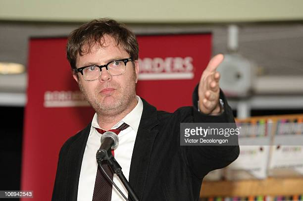 Actor Rainn Wilson introduces coauthor Devon Gundry during a book signing for his book 'SoulPancake' on November 17 2010 in Los Angeles California