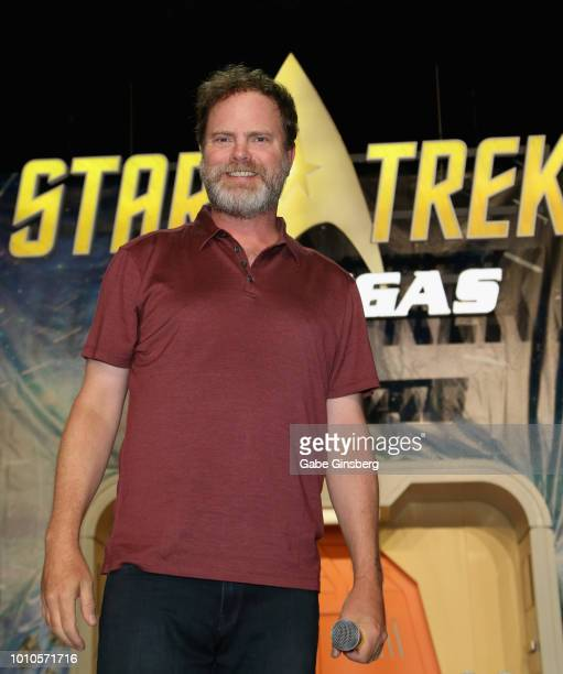 Actor Rainn Wilson speaks at the Rainn Wilson panel during the 17th annual official Star Trek convention at the Rio Hotel Casino on August 3 2018 in...