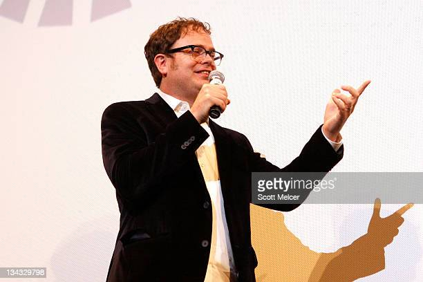 """Actor Rainn Wilson speaks onstage at the 2011 SXSW Music, Film + Interactive Festival """"Super"""" Premiere at Paramount Theater on March 12, 2011 in..."""