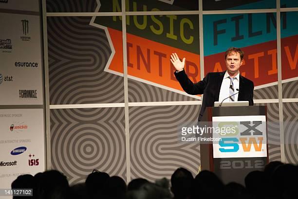 Actor Rainn Wilson speaks onstage at The View from Inside Rainn Wilson's Brainstem during the 2012 SXSW Music Film Interactive Festival at Austin...