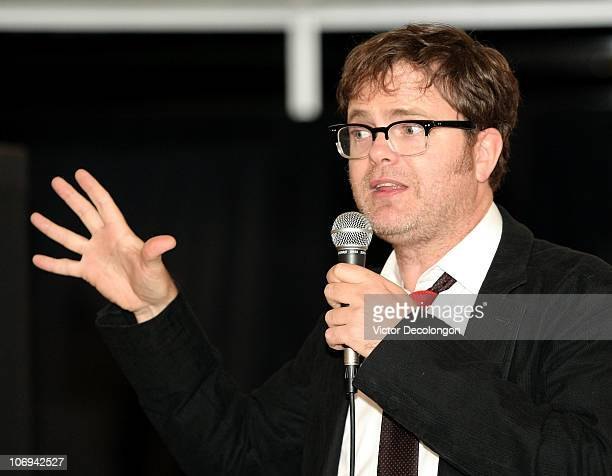 Actor Rainn Wilson speaks to the audience during a book signing for his book 'SoulPancake' on November 17 2010 in Los Angeles California