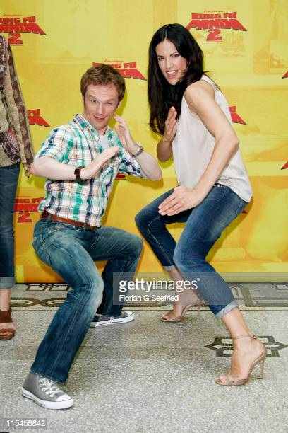 Actor Ralf Schmitz and actress Bettina Zimmermann attend the Photocall of 'Kung Fu Panda 2' at Hotel de Rome on June 7 2011 in Berlin Germany