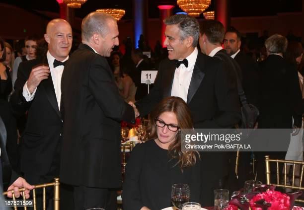 Actor Ralph Fiennes actress Julia Roberts and filmmaker George Clooney attend the 2013 BAFTA LA Jaguar Britannia Awards presented by BBC America at...