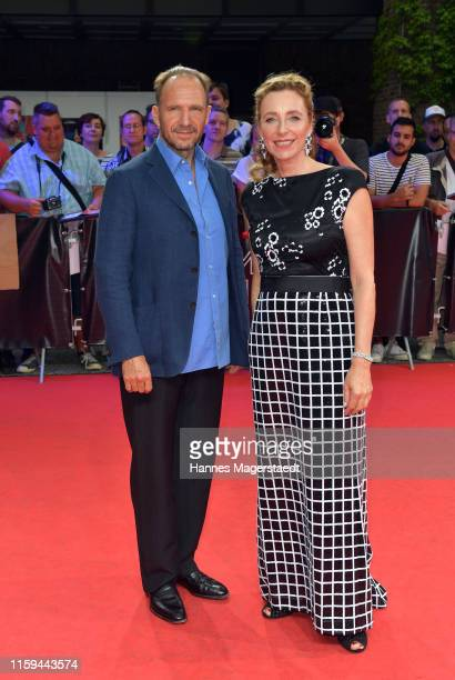 Actor Ralph Fiennes and Diana Iljine at the CineMerit Gala for Ralph Fiennes during the Munich Film Festival at Gasteig on July 01, 2019 in Munich,...