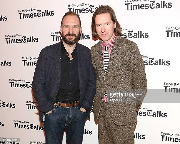 Actor Ralph Fiennes and director Wes Anderson attends TimesTalk Presents An Evening With Wes Anderson And Ralph Fiennes at The Times Center on...