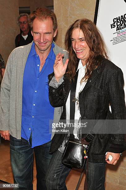 Actor Ralph Fiennes and musician Patti Smith attend the The Public Theater and Labyrinth Theater's production of Othello opening night at the Jack H...