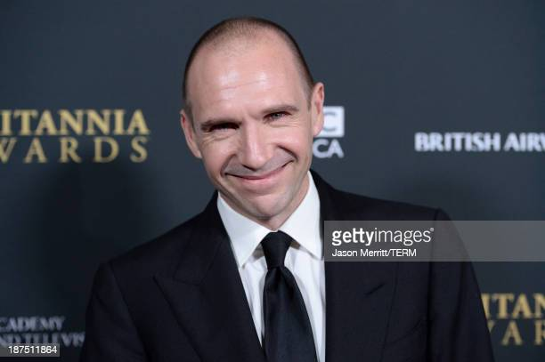 Actor Ralph Fiennes attends the 2013 BAFTA LA Jaguar Britannia Awards presented by BBC America at The Beverly Hilton Hotel on November 9, 2013 in...
